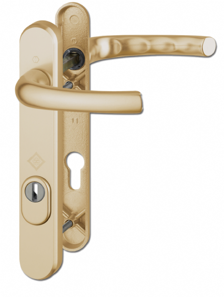 HOPPE Door Furniture PAS24 Atlanta 92mm Centres 122mm Screw Centres - Gold